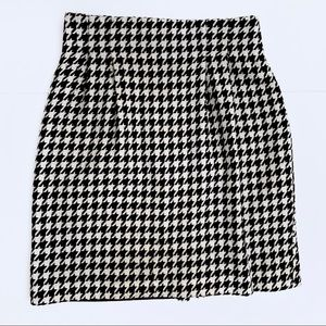 David N Vintage Houndstooth Pencil Skirt Black | 4